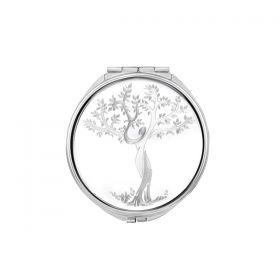 Ağaç Desenli İsme Özel  Metal Cep Aynası