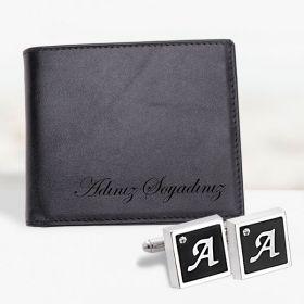 İsme özel deri cüzdan ve kol düğmesi seti