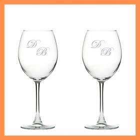 İsme Özel İkili Harf Desenli Şarap Kadehi