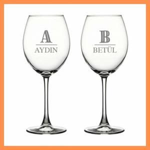 Harf Desenli İkili Şarap Kadehi