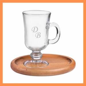 İsme Özel Harf Desenli Ahşap Sunum Tepsili Latte Bardağı