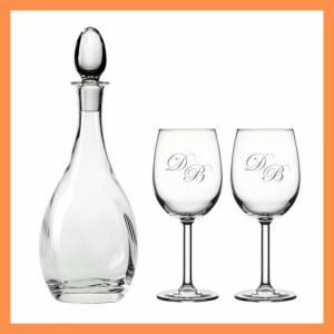 Optikli Şarap Şişesi ve İsme Özel Harf Desenli Kadeh