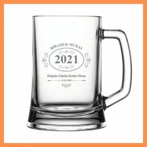 İsme Özel Tarih Desenli Bira Bardağı