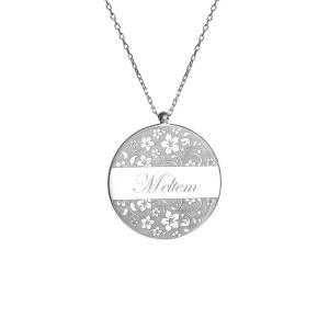 isme özel floral desenli gümüş kolye