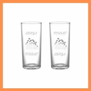 Çiftlere özel kalp desenli ikili rakı bardağı