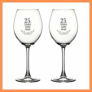 İkili Şarap Kadehi Yıldönemi Temalı